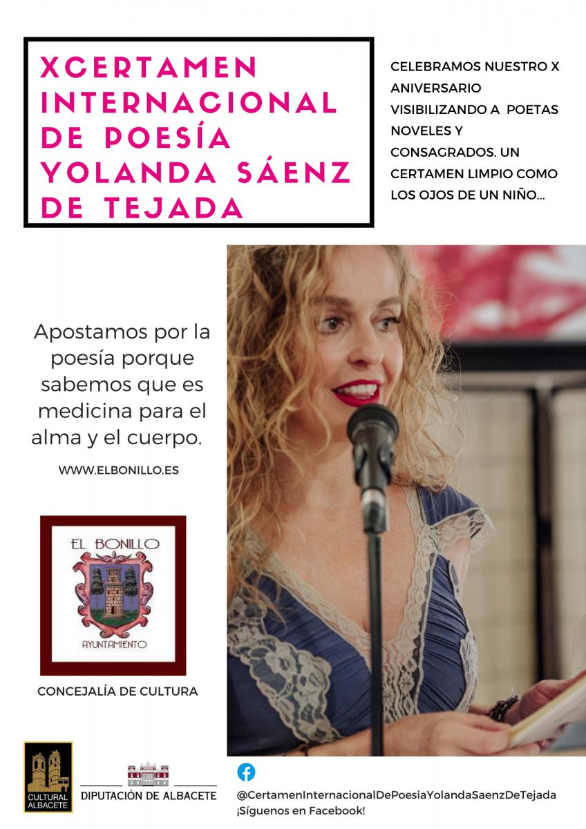 x CERTAMEN INTERNACIONAL DE POESÍA YOLANDA SÁENZ DE TEJADA. el bonillo